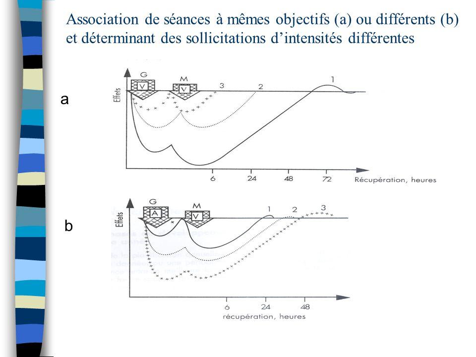 Association de séances à mêmes objectifs (a) ou différents (b) et déterminant des sollicitations d'intensités différentes