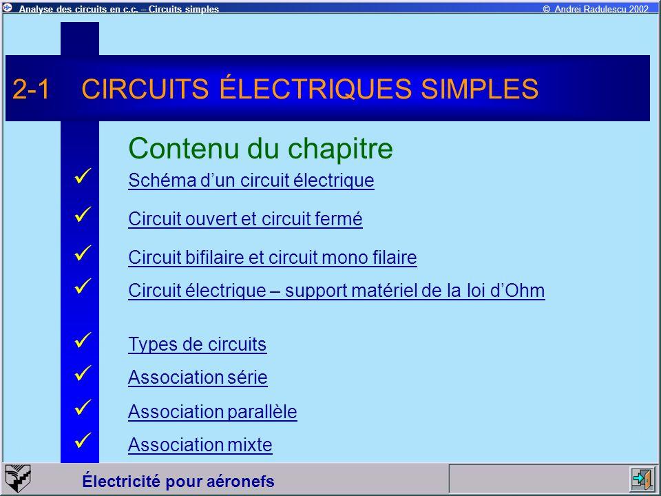 2-1 CIRCUITS ÉLECTRIQUES SIMPLES