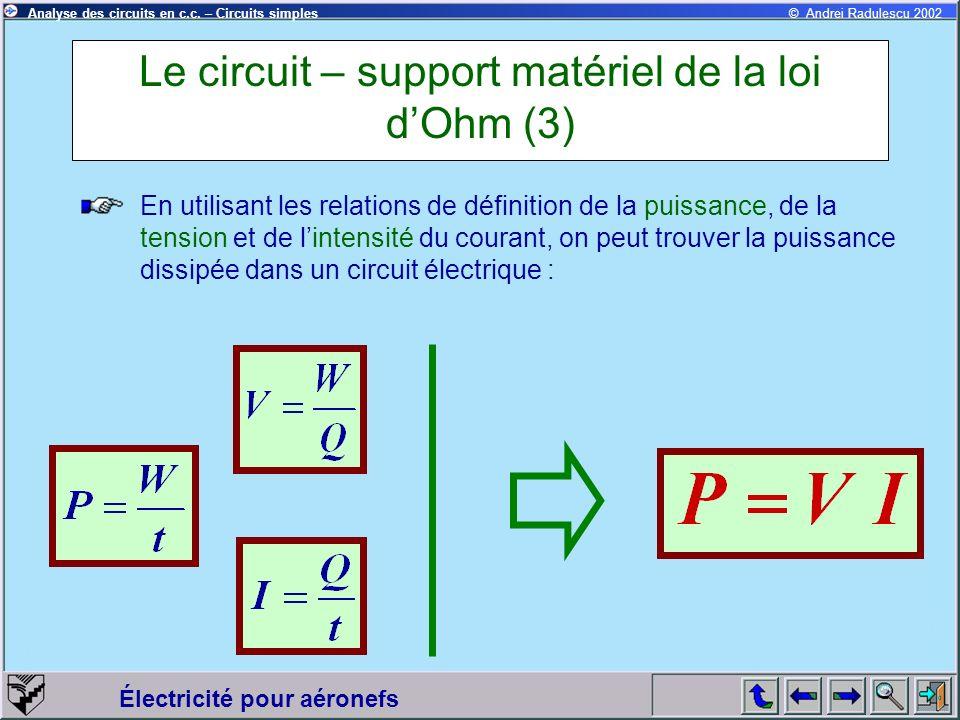 Le circuit – support matériel de la loi d'Ohm (3)