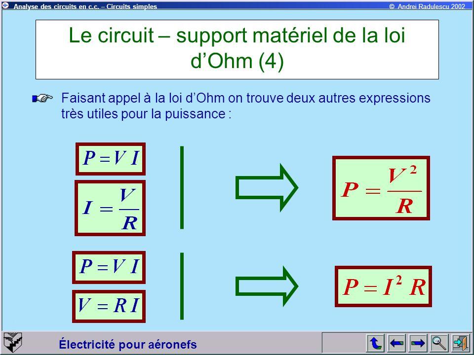 Le circuit – support matériel de la loi d'Ohm (4)
