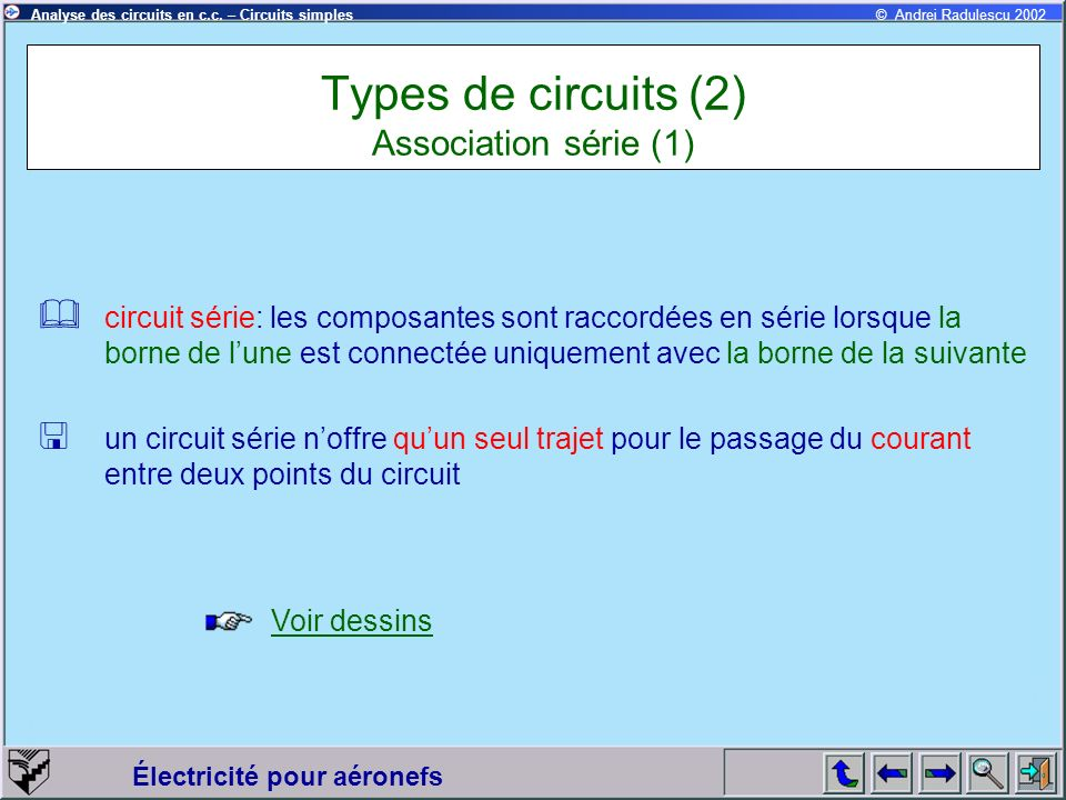 Types de circuits (2) Association série (1)