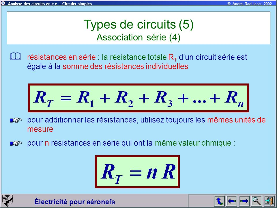 Types de circuits (5) Association série (4)