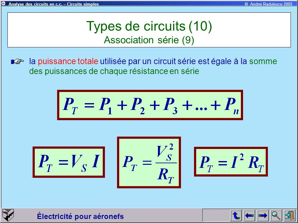 Types de circuits (10) Association série (9)