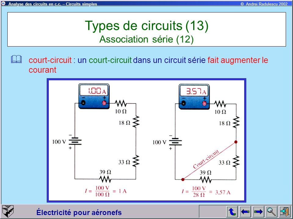 Types de circuits (13) Association série (12)