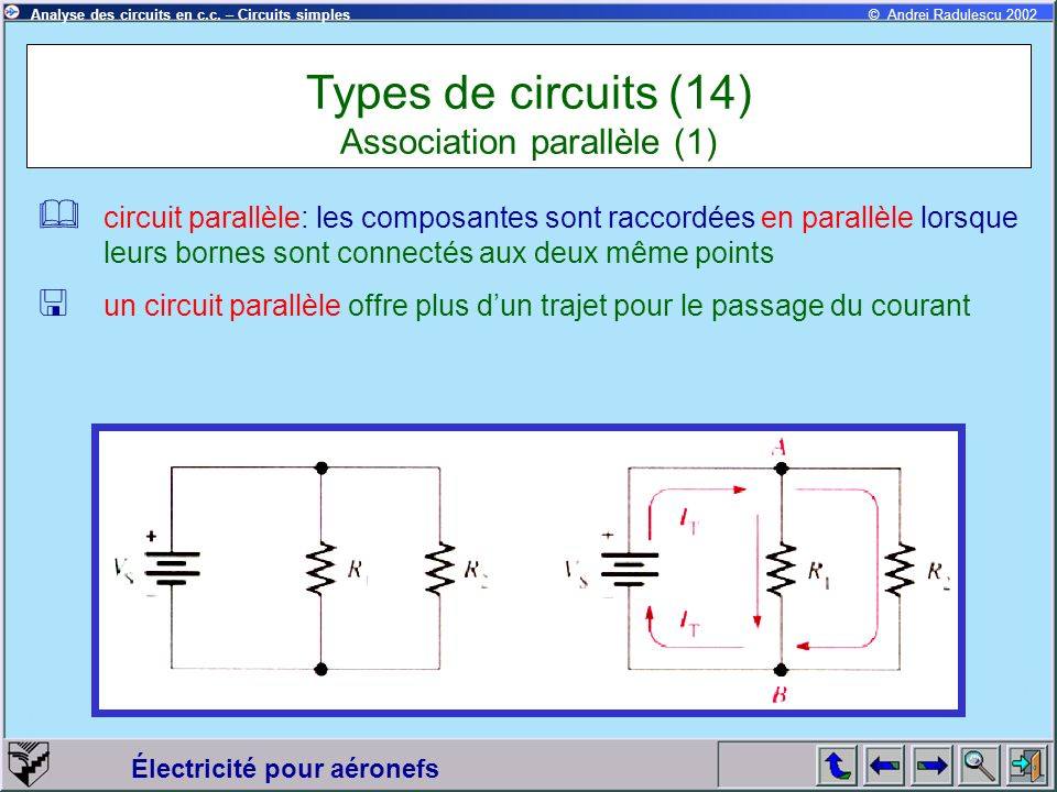 Types de circuits (14) Association parallèle (1)