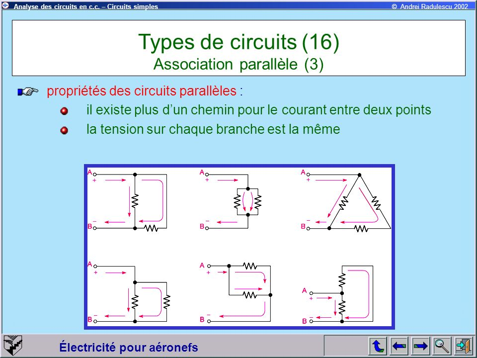 Types de circuits (16) Association parallèle (3)