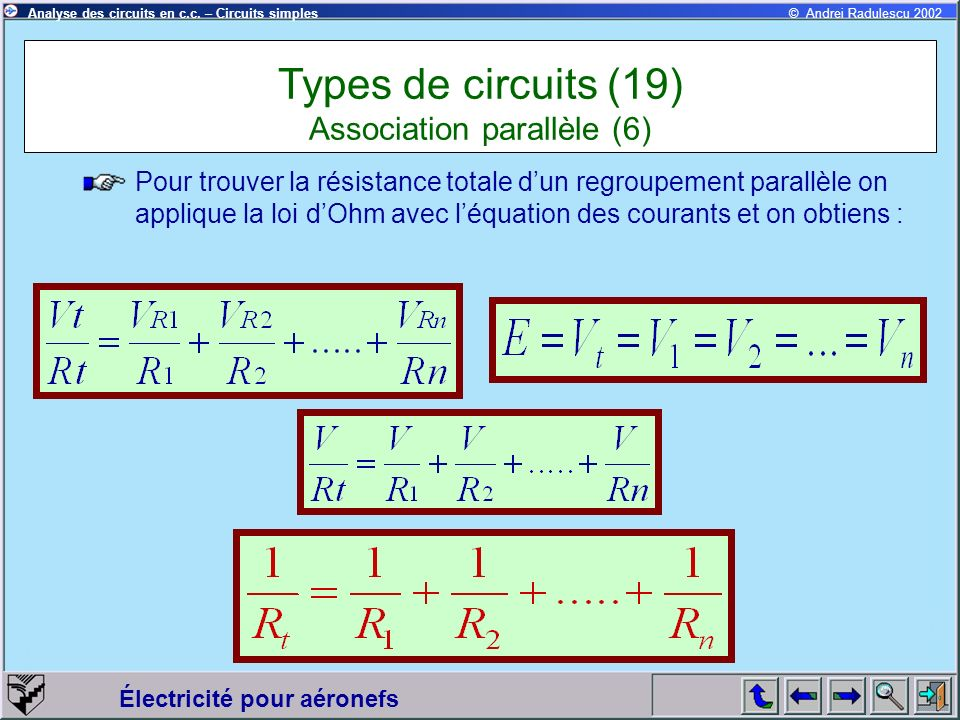 Types de circuits (19) Association parallèle (6)