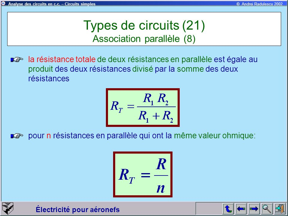 Types de circuits (21) Association parallèle (8)