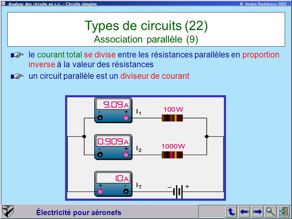 Types de circuits (22) Association parallèle (9)