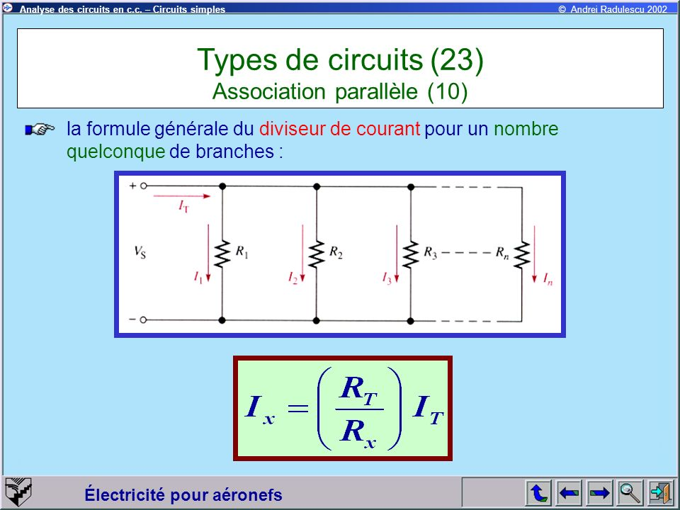 Types de circuits (23) Association parallèle (10)
