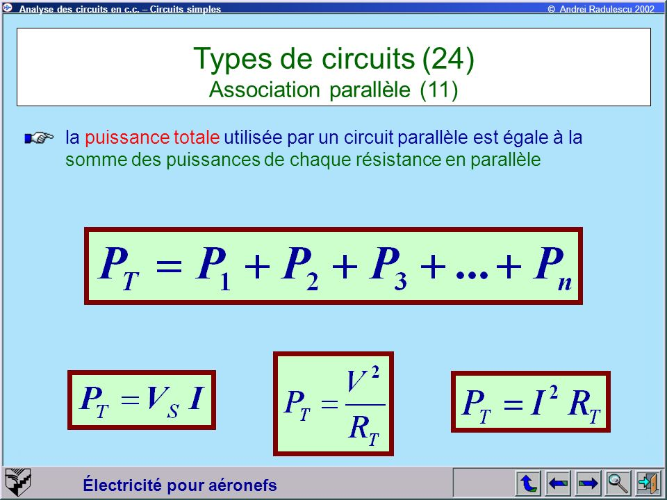 Types de circuits (24) Association parallèle (11)