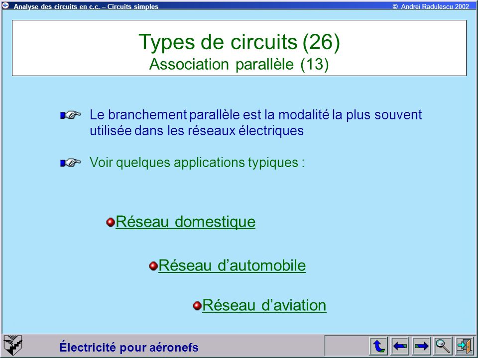 Types de circuits (26) Association parallèle (13)