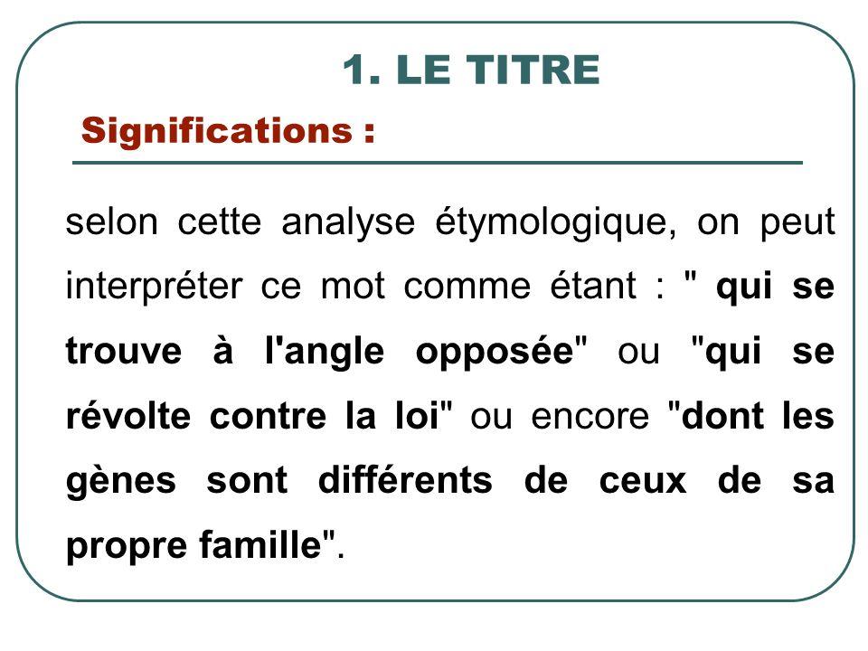 1. LE TITRE Significations :