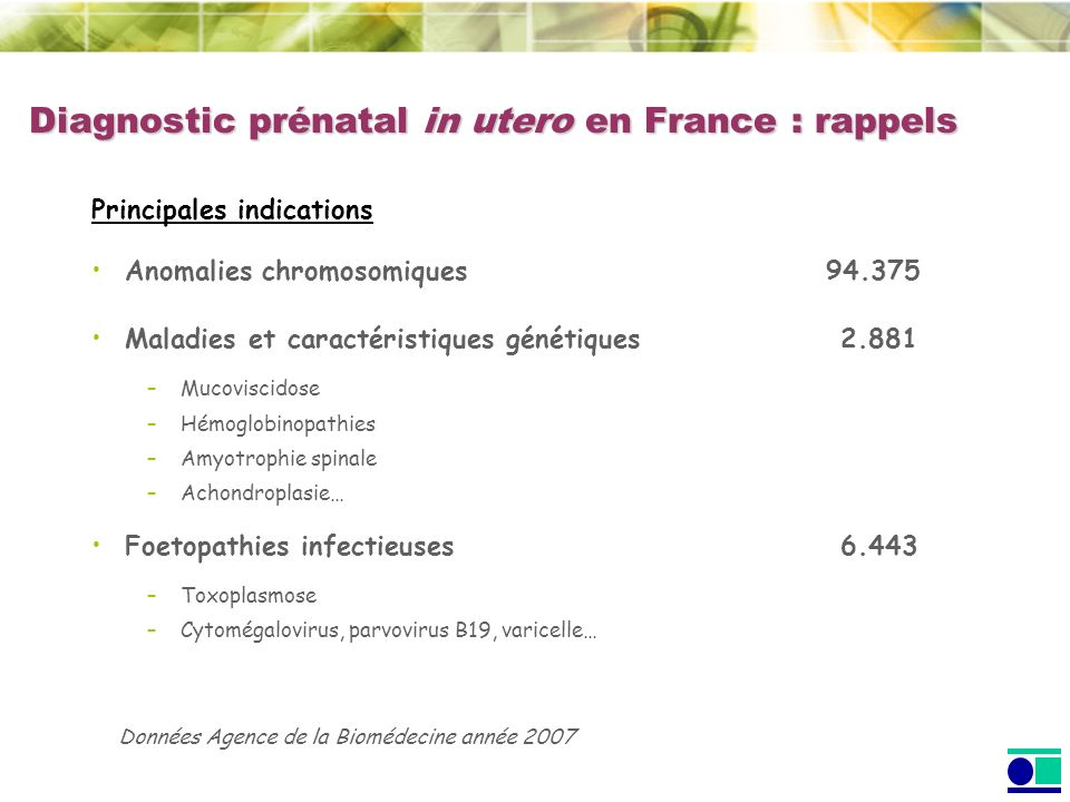 Diagnostic prénatal in utero en France : rappels