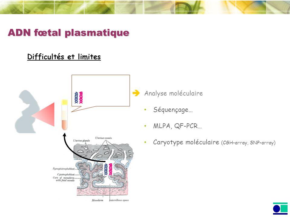 ADN fœtal plasmatique  Difficultés et limites Analyse moléculaire