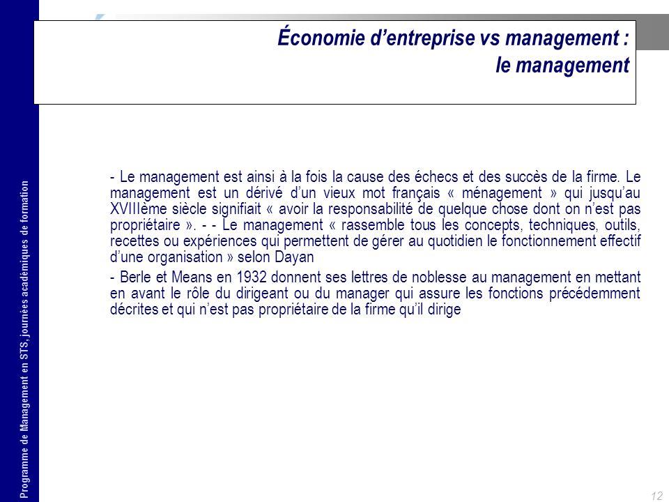 Économie d'entreprise vs management : le management