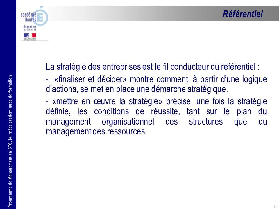 Référentiel La stratégie des entreprises est le fil conducteur du référentiel :