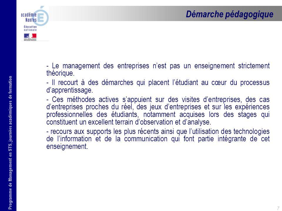 Démarche pédagogique - Le management des entreprises n'est pas un enseignement strictement théorique.