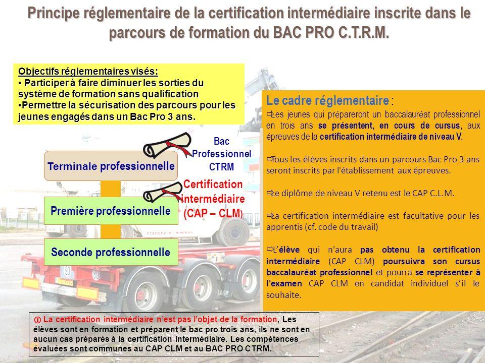 Principe réglementaire de la certification intermédiaire inscrite dans le parcours de formation du BAC PRO C.T.R.M.