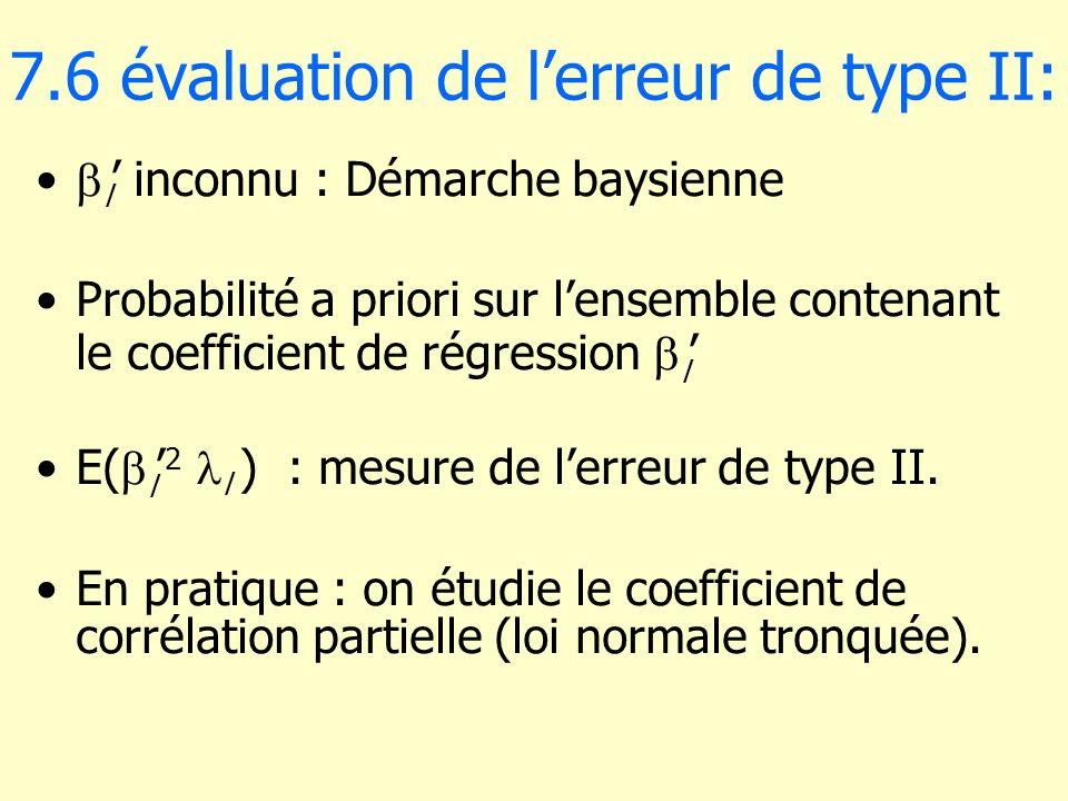7.6 évaluation de l'erreur de type II: