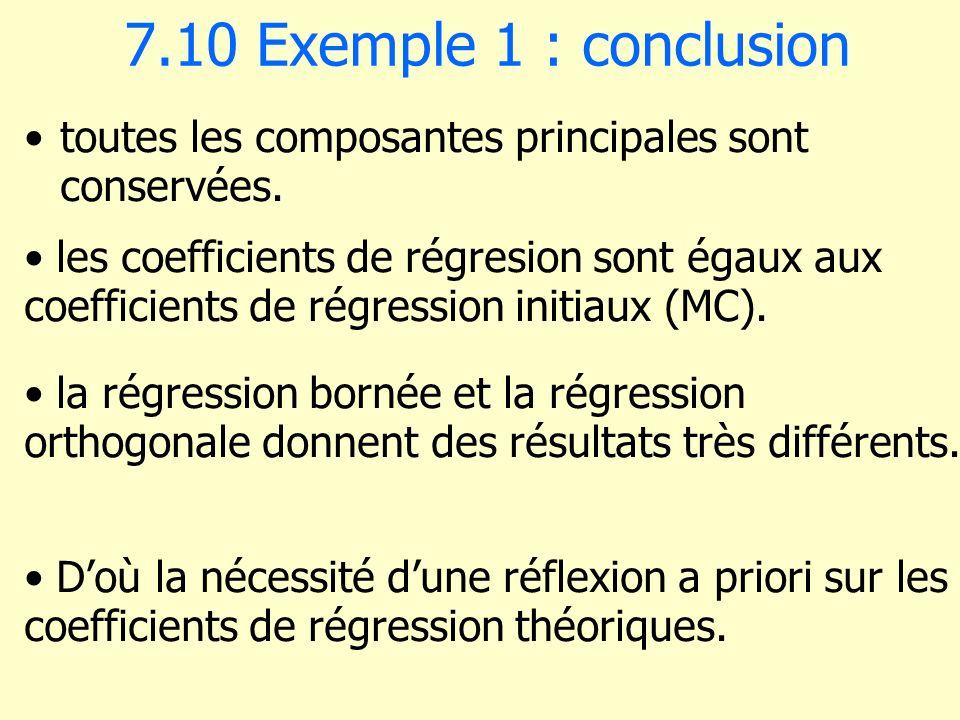 7.10 Exemple 1 : conclusion toutes les composantes principales sont conservées.