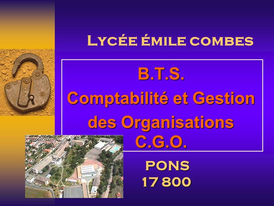 B.T.S. Comptabilité et Gestion des Organisations C.G.O.