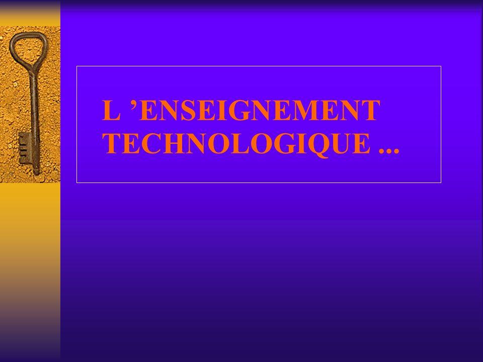 L 'ENSEIGNEMENT TECHNOLOGIQUE ...
