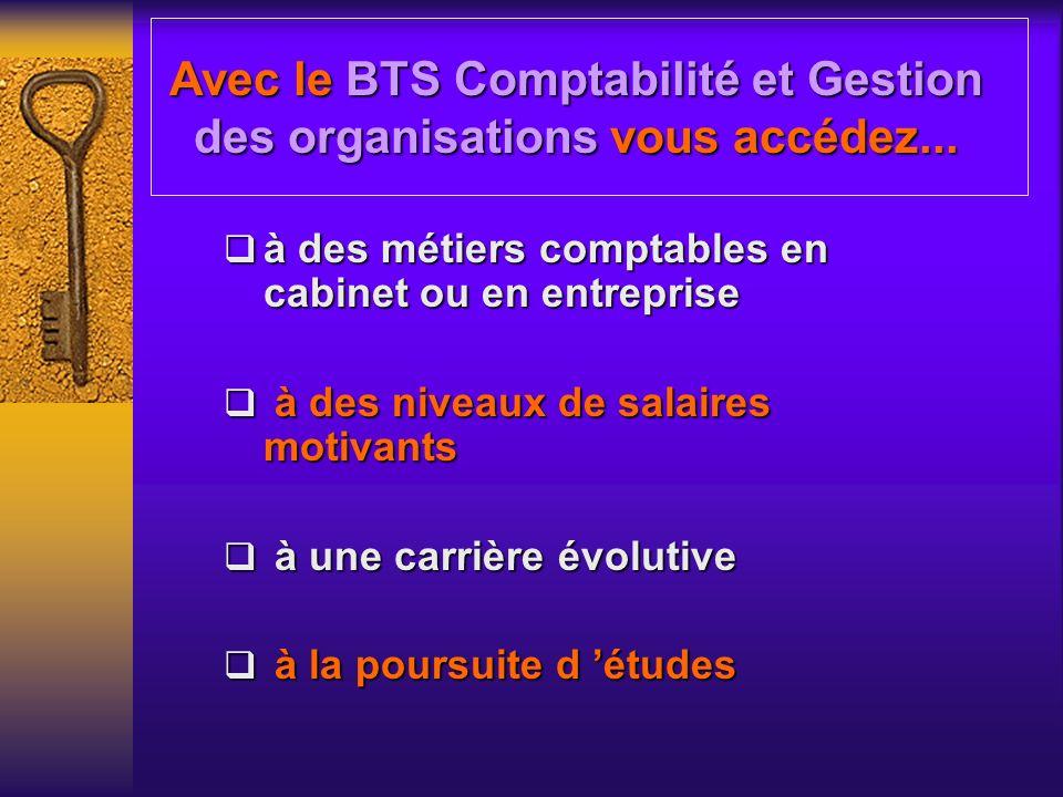 Avec le BTS Comptabilité et Gestion des organisations vous accédez...