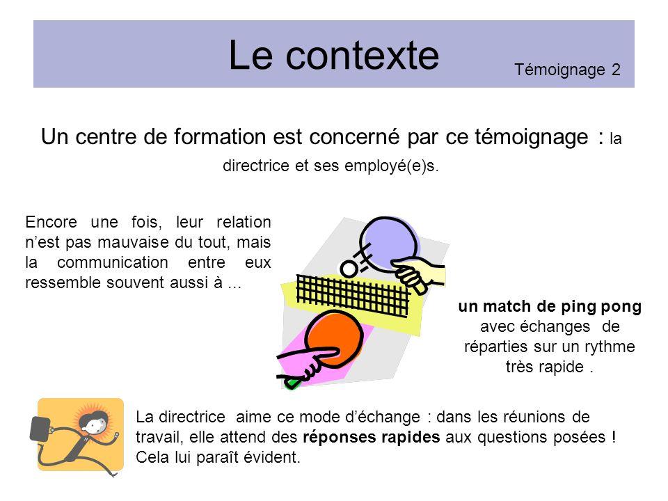 Le contexte Témoignage 2. Un centre de formation est concerné par ce témoignage : la directrice et ses employé(e)s.
