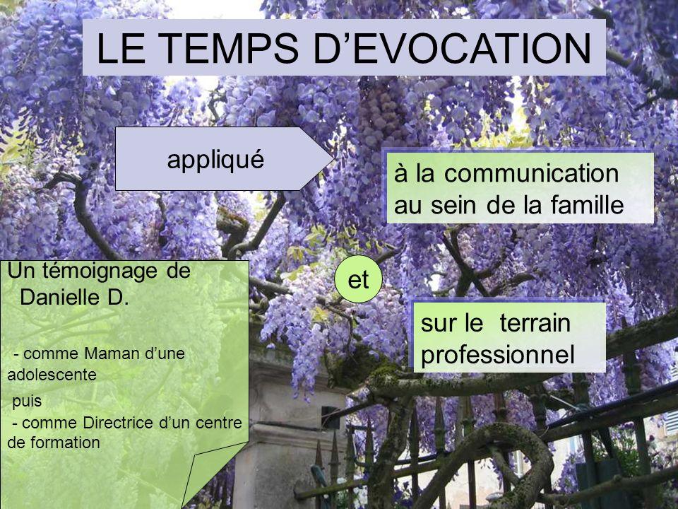 LE TEMPS D'EVOCATION appliqué à la communication au sein de la famille