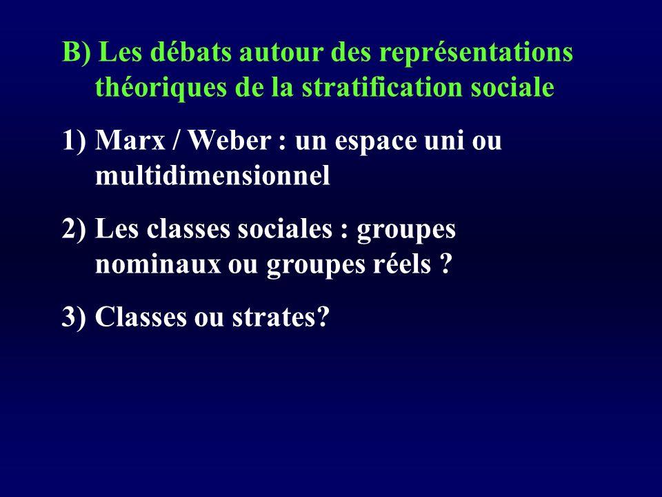 B) Les débats autour des représentations théoriques de la stratification sociale