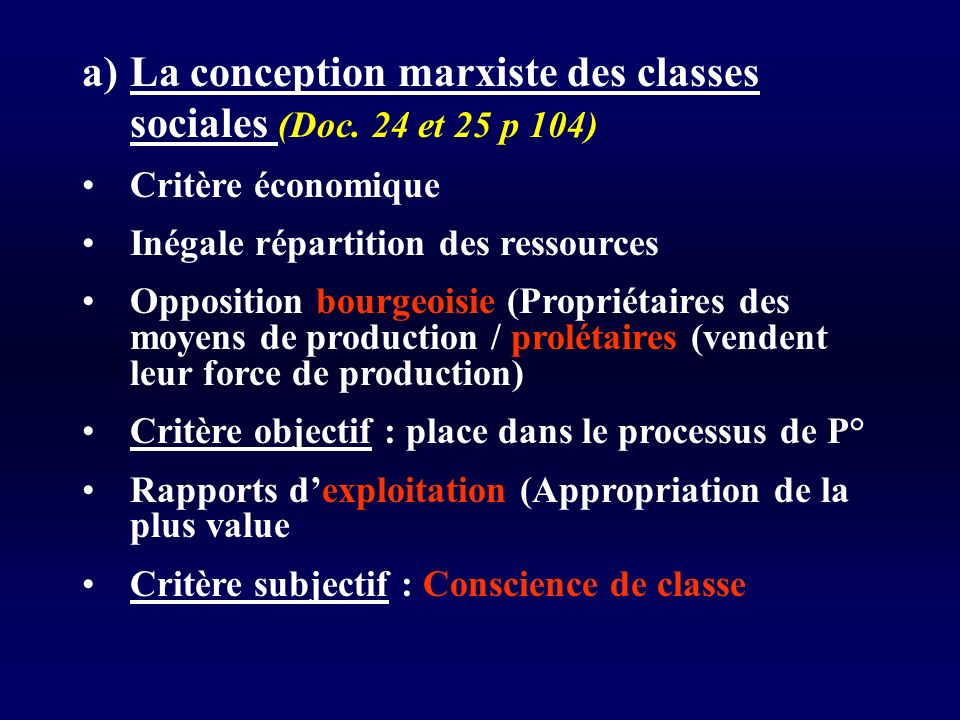 La conception marxiste des classes sociales (Doc. 24 et 25 p 104)
