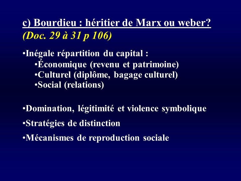 c) Bourdieu : héritier de Marx ou weber (Doc. 29 à 31 p 106)