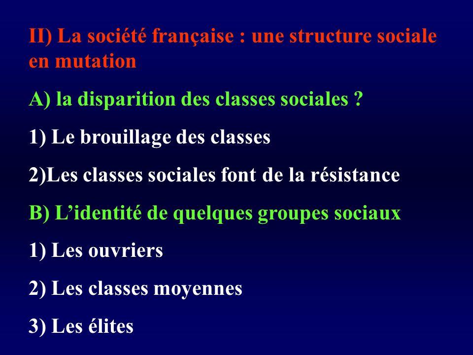 II) La société française : une structure sociale en mutation