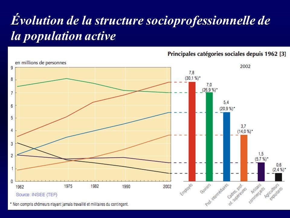 Évolution de la structure socioprofessionnelle de la population active