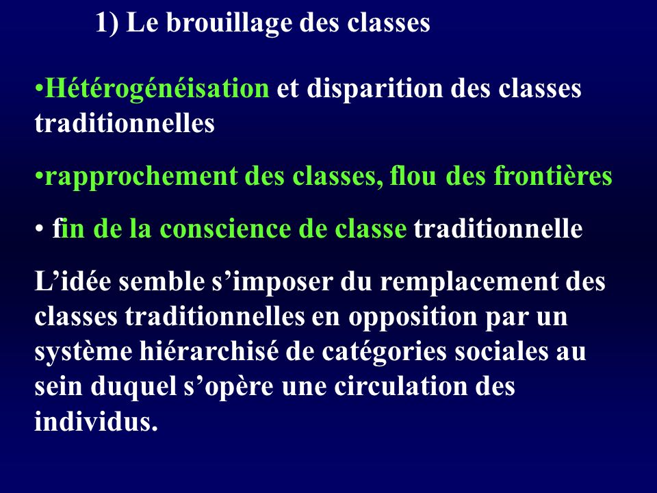 1) Le brouillage des classes