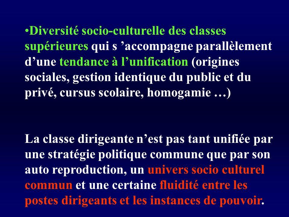 Diversité socio-culturelle des classes supérieures qui s 'accompagne parallèlement d'une tendance à l'unification (origines sociales, gestion identique du public et du privé, cursus scolaire, homogamie …)