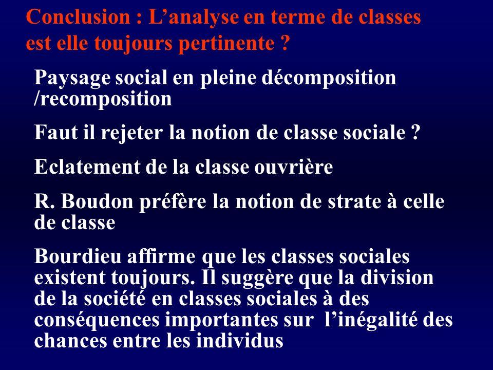 Conclusion : L'analyse en terme de classes est elle toujours pertinente