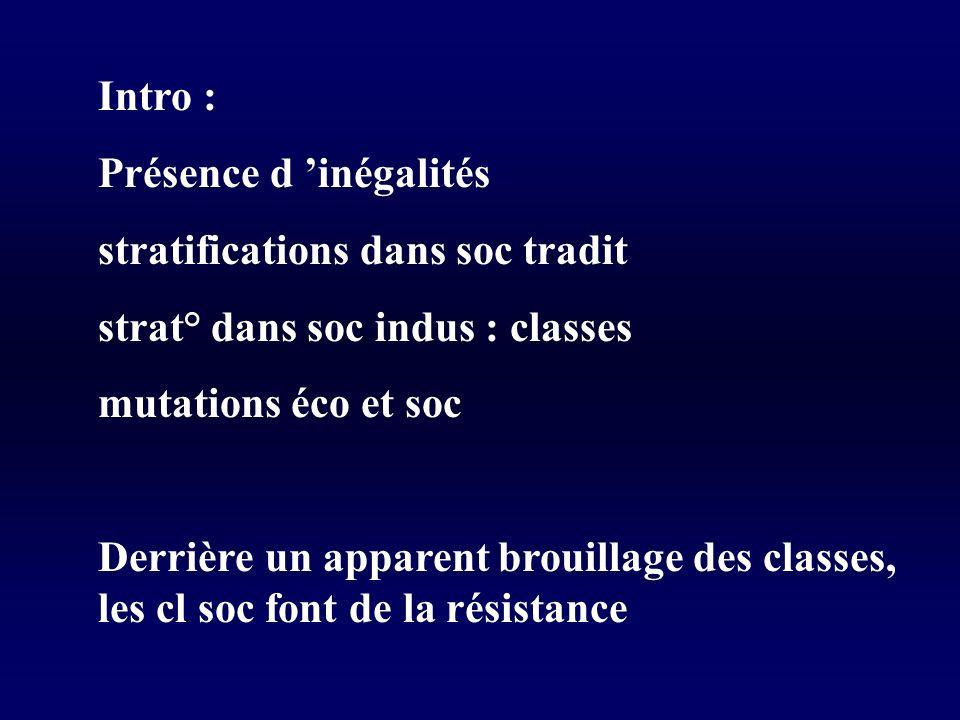 Intro : Présence d 'inégalités. stratifications dans soc tradit. strat° dans soc indus : classes.