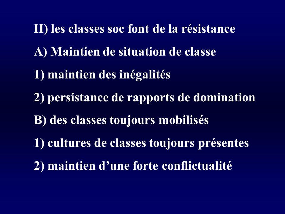 II) les classes soc font de la résistance