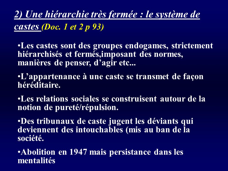 2) Une hiérarchie très fermée : le système de castes (Doc. 1 et 2 p 93)