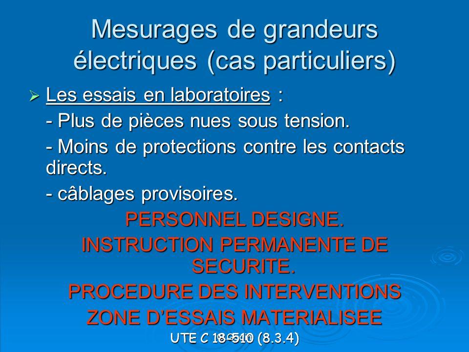 Mesurages de grandeurs électriques (cas particuliers)