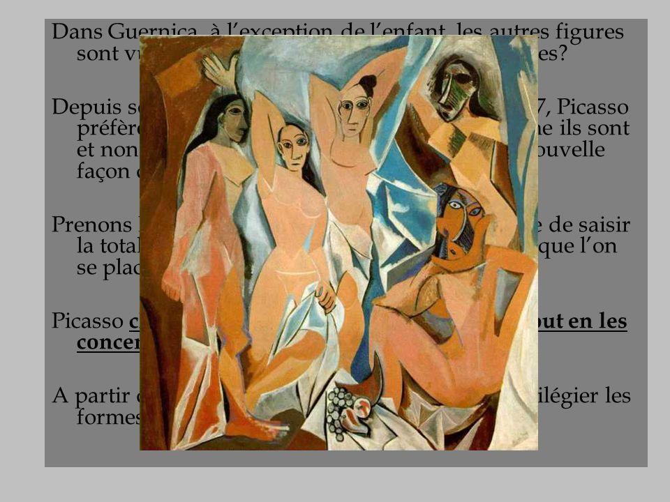 Le cubisme Dans Guernica, à l'exception de l'enfant, les autres figures sont vues de face et de profil à la fois. Déformées