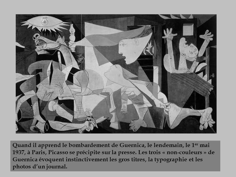 Quand il apprend le bombardement de Guernica, le lendemain, le 1er mai 1937, à Paris, Picasso se précipite sur la presse.