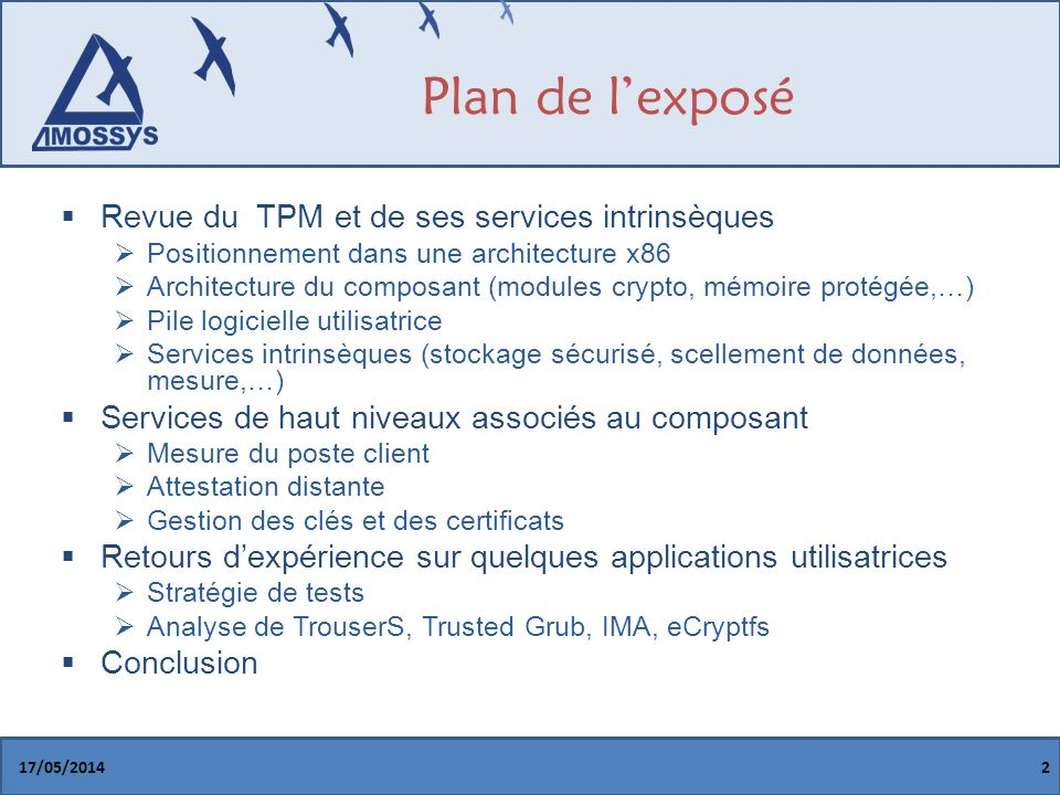Plan de l'exposé Revue du TPM et de ses services intrinsèques