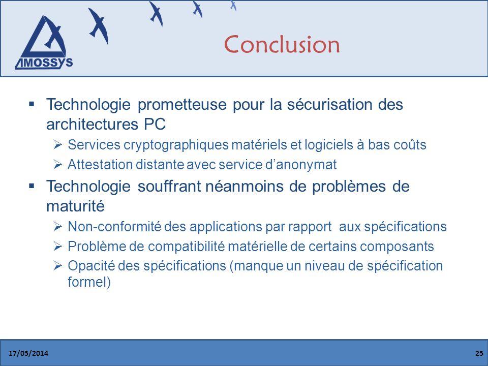 Conclusion Technologie prometteuse pour la sécurisation des architectures PC. Services cryptographiques matériels et logiciels à bas coûts.