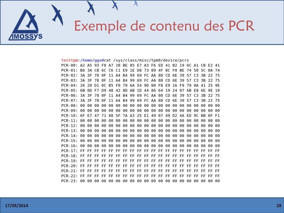 Exemple de contenu des PCR