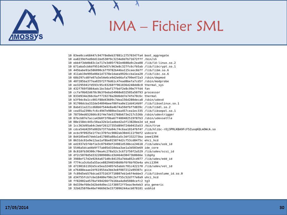 IMA – Fichier SML 31/03/2017