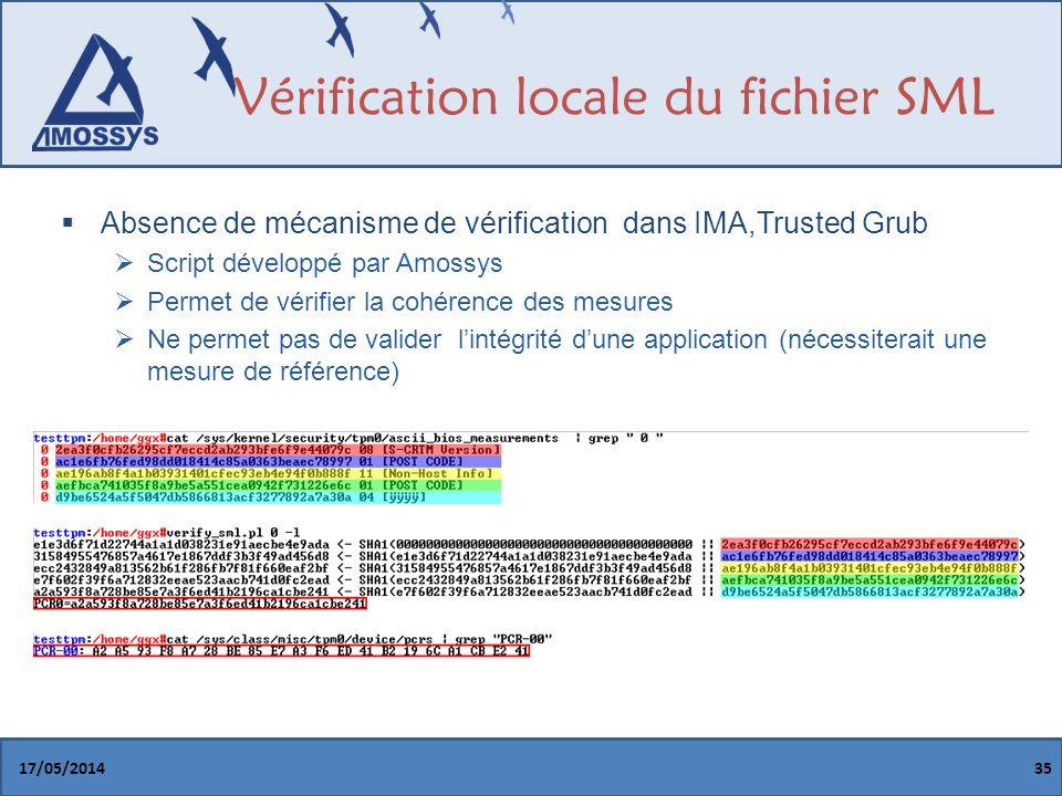 Vérification locale du fichier SML