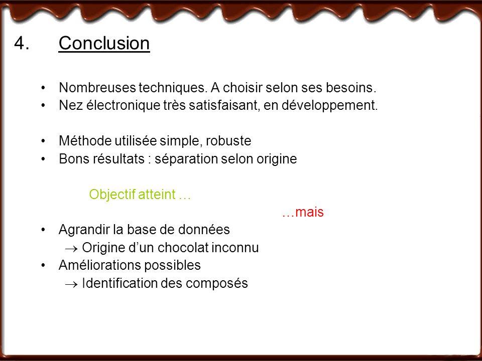 4. Conclusion Nombreuses techniques. A choisir selon ses besoins.